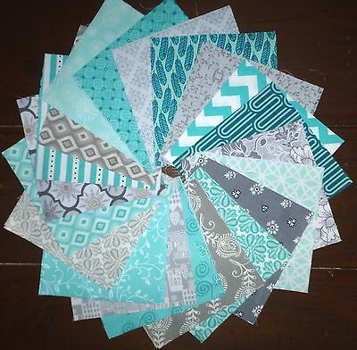 40 Teal Grey quilting patchwork cotton fabric 5 inch squares #22e
