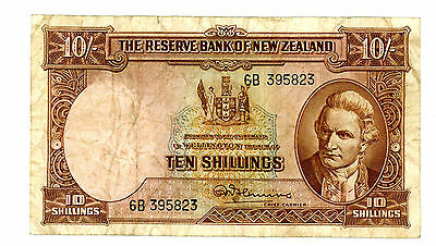 New Zealand ... P-158c ... 10 Shillings ... ND(1956-60) ... *F++*