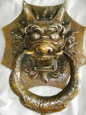 chinese old brass carved dragon head door knocker statue