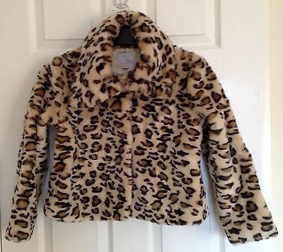 Next Short Fur Coat/Jacket Braun/Black Animal Print, Girls Age 9-10 years 140cm
