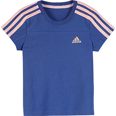 Size 6/7 Years - Adidas Originals Lg Ess Tee - Blue/pink Stripe