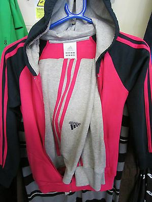 Size 9-10 Years Adidas Originals 3 Stripes Full Zip Hooded Jog Fleece Tracksuit