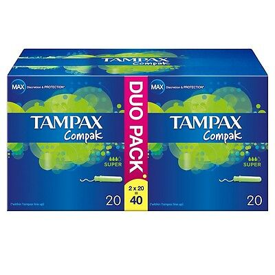 Tampax Compak Super Applicator Tampons Pack of 40 Protective Skirt Discretion