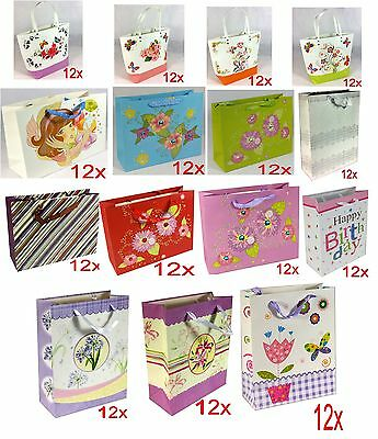 Pack Of 12 X Gift Bags Range Of Designs & Colours For Christmas Xmas Birthdays