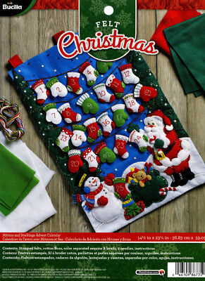 Bucilla Mittens & Stockings Advent Calendar ~ Felt Christmas Kit #86735, Santa