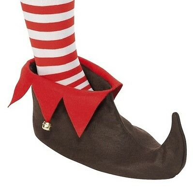 Christmas Fancy Dress Unisex Elf Boots Brown to UK Shoe Size 8 by Smiffys New