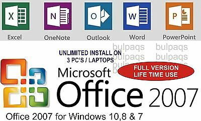 Microsoft Office for Windows 7/8 &10 - Word,Excel, Powerpoint etc Life time use
