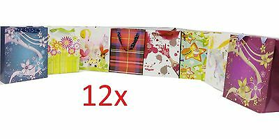 Pack Of 12 X Gift-Bags Various Designs Birthdays,weddings,xmas,special Occasions