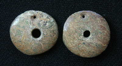 Pre-Columbian Jade Disc Earrings or Beads