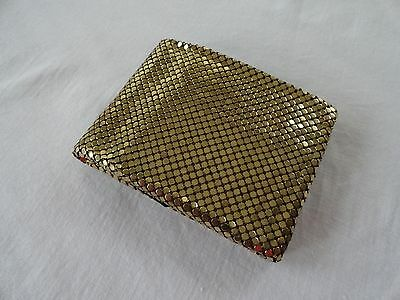 WHITING AND DAVIS Gold Tone Mesh Metal Bi-Fold Wallet Coin Purse Vintage