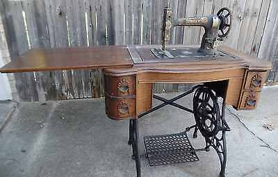 Antique White Treadle Sewing  Machine with Foldaway Desk and Accessories