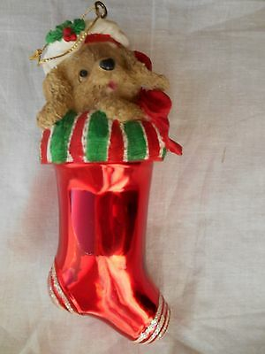 PUPPY DOG in Red STOCKING Glitter CHRISTMAS ORNAMENT