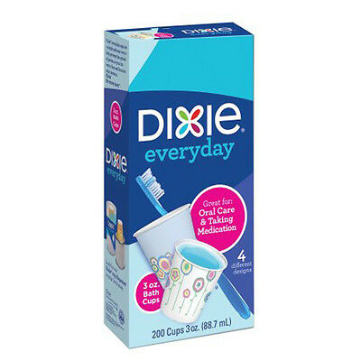 3 Oz Dixie Disposable Cups 200 Count Bath Party Tableware Hygienically Clean New