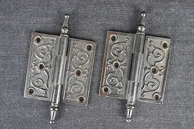 Antique Vintage Cast Iron Victorian Hinges Pair 3-1/2 X 3-1/2 Steeple Tip