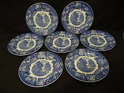 Vintage Enoch Woods Set Of 7 Bread & Butter Plate English Scenery Blue Transfer