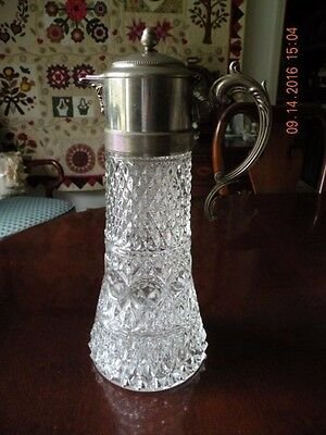 Antique Crystal and Silverplate Large Pitcher / Claret Carafe  / Decanter