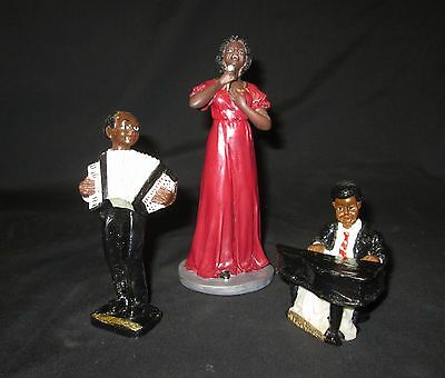 Vintage Set of 3 Black American Jazz Band Figurines - New Orleans / Herco