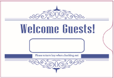 "Hotel Keycard Envelope/ Sleeve "" Welcome Guests"" Blue 2-3/8"" x 3-1/2"" 500/Box"