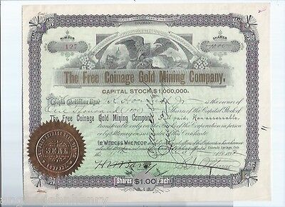 1892 FREE COINAGE GOLD MINING COMPANY inc. COLORADO STOCK CERTIFICATE #127