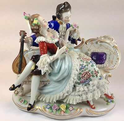"1918 Antique Large  Porcelain & Lace Figurine Group ""The Lovers Tease""  Dresden"
