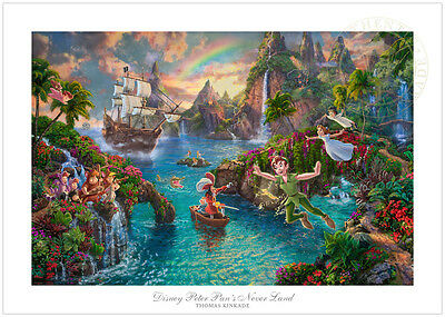 Thomas Kinkade Peter Pan's Never Land 12 x 18 G/P Limited Edition Paper Disney