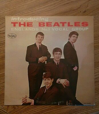 "The Beatles ""Introducing The Beatles"" LP version 2 w/ factory mistake labels WOW"