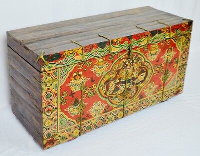"""Early Chinese Storage Chest w/ Painted Foo Dog Design, 42.5""""W x 16""""D x 22.5""""H"""