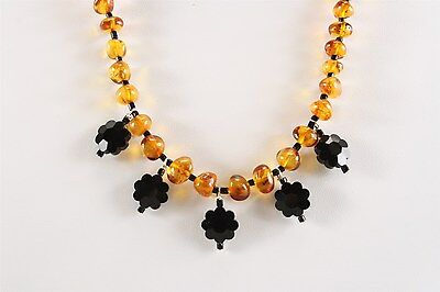 Exquisite Wiccan-Friendly Genuine Baltic Amber & Deco Whitby Jet Necklace #5967