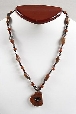 Exquisite Assorted Vintage Red & Brachiated Jasper & Glass Bead Bear Necklace