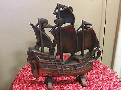 Antique Cast Iron DOORSTOP: c1920 Sailing Ship Spanish Galleon- bronze finish