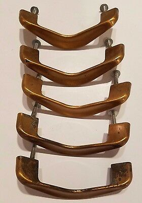 5 antique Mid Century Modern Brass handle drawer dresser pull vintage vtg