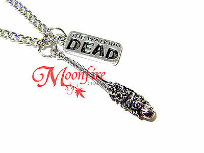 The Walking Dead Lucille Baseball Bat Pendant Necklace Negan Barbed Wire