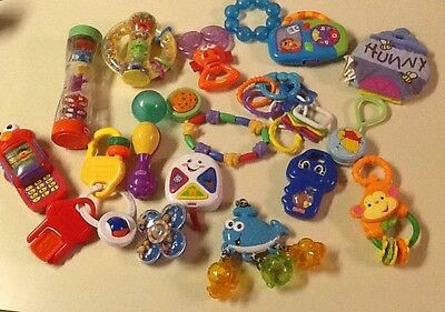 Infant toys, Lot of 18 Misc Rattles, Teethers And Toys
