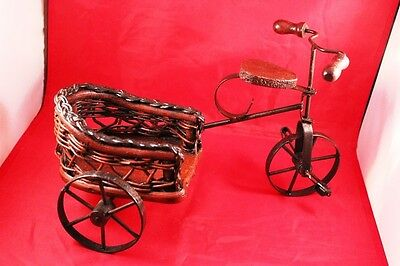 "Vintage 12"" Wrought Iron & Wood Bicycle/Tricycle Stand Holder or Display Decor"