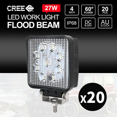 "20x 27W CREE LED Work Lights Bar FLOOD Offroad Truck Work Lamps 4"" SQUARE"