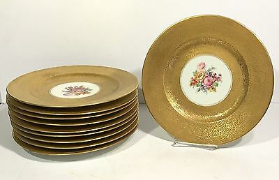 "10 HUTSCHENREUTHER BAVARIAN Gold Encrusted 10 3/4"" PLATES Floral Hand Painted"