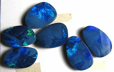 opal doublets, matched set, 11.5 carats, 12 x 8mm, green & blue fire, electric