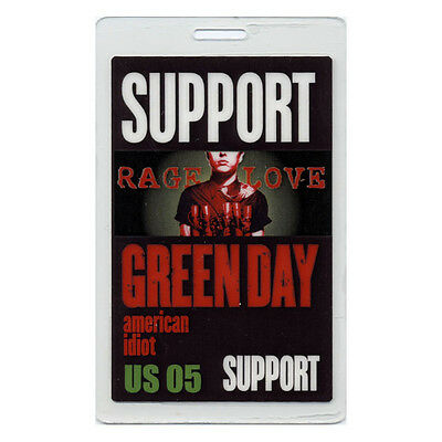 Green Day Support 2005 Laminated Backstage Pass