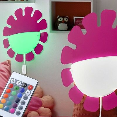 RGB LED Girls Wall Light Colour chaning Children's Room Lamp Remote control