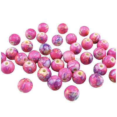 New Arrival 8Mm 10Mm Pink Flower Paited Acrylic Round Beads For Jewellery Making