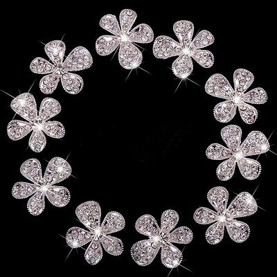 10 Alloy Rhinestone Diamante Crystal Flower Flatback Cabochons Bling Phone Decor