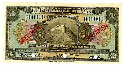 Haiti ... P-160aS ... 1 Gourde ... ND(L.1919) ... *UNC* ... SPECIMEN RED