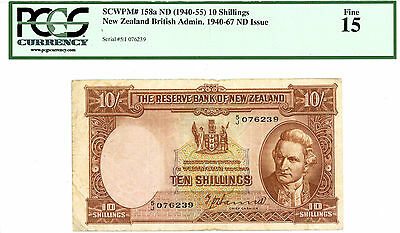 New Zealand ... P-158a ... 10 Shillings ... ND.(1940-55) ... *F* ..PCGS15 (fine)