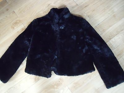 John Lewis Quality Glossy Black Faux Fur Jacket Age 12/13 Immaculate Condition