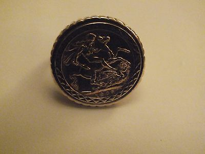 22 ct Gold Sovereign ring Edward 1905 in 9ct ring mount. 16.5 grams. size w