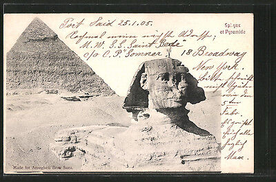 remarquable CPA Gizeh, Sphynx et Pyramide 1905