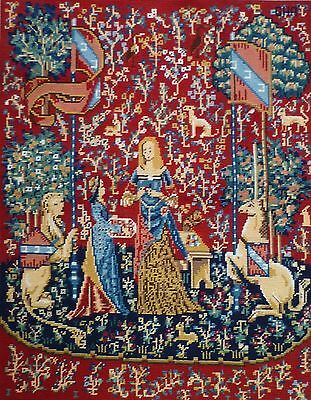 Completed Needlepoint Tapestry Panel - The Lady & The Unicorn - Sense Of Smell