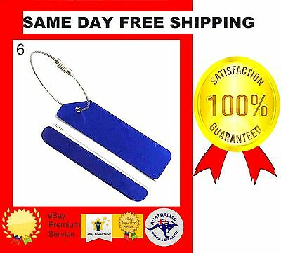 Blue Aluminium + Stainless Steel Ring Luggage Tag Travel Baggage Name Address*