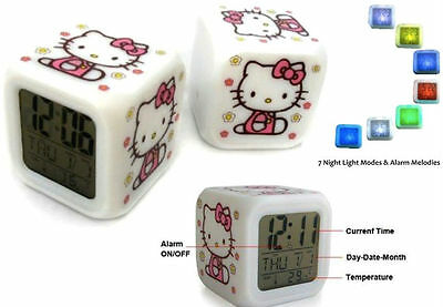 Alarm Clock time LED Hello kitty Digital 7 Color Thermometer Night light Gift