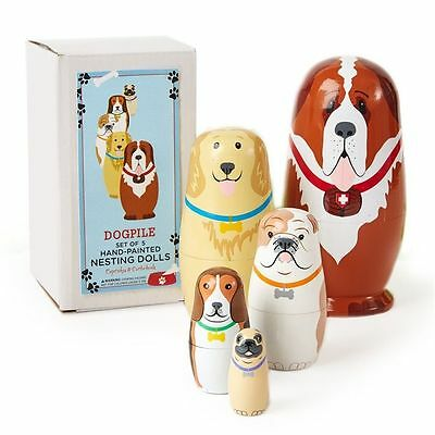 Cupcakes And Cartwheels Set 5 Hand-Painted Dog Russian Style Nesting Dolls